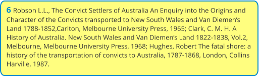 6 Robson L.L., The Convict Settlers of Australia An Enquiry into the Origins and Character of the Convicts transported to New South Wales and Van Diemen's Land 1788-1852,Carlton, Melbourne University Press, 1965; Clark, C. M. H. A History of Australia. New South Wales and Van Diemen's Land 1822-1838, Vol.2, Melbourne, Melbourne University Press, 1968; Hughes, Robert The fatal shore: a history of the transportation of convicts to Australia, 1787-1868, London, Collins Harville, 1987.