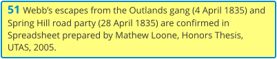 51 Webb's escapes from the Outlands gang (4 April 1835) and Spring Hill road party (28 April 1835) are confirmed in Spreadsheet prepared by Mathew Loone, Honors Thesis, UTAS, 2005.