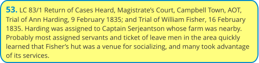53. LC 83/1 Return of Cases Heard, Magistrate's Court, Campbell Town, AOT, Trial of Ann Harding, 9 February 1835; and Trial of William Fisher, 16 February 1835. Harding was assigned to Captain Serjeantson whose farm was nearby. Probably most assigned servants and ticket of leave men in the area quickly learned that Fisher's hut was a venue for socializing, and many took advantage of its services.