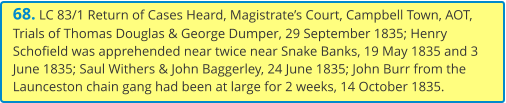 68. LC 83/1 Return of Cases Heard, Magistrate's Court, Campbell Town, AOT, Trials of Thomas Douglas & George Dumper, 29 September 1835; Henry Schofield was apprehended near twice near Snake Banks, 19 May 1835 and 3 June 1835; Saul Withers & John Baggerley, 24 June 1835; John Burr from the Launceston chain gang had been at large for 2 weeks, 14 October 1835.