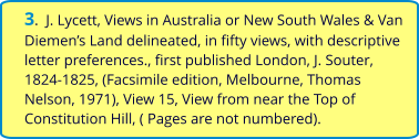 3.  J. Lycett, Views in Australia or New South Wales & Van Diemen's Land delineated, in fifty views, with descriptive letter preferences., first published London, J. Souter, 1824-1825, (Facsimile edition, Melbourne, Thomas Nelson, 1971), View 15, View from near the Top of Constitution Hill, ( Pages are not numbered).